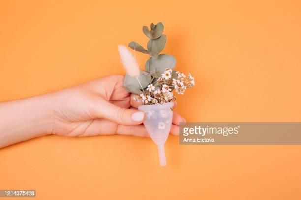 white menstrual cup with herbal leaf - ciclo de menstruación fotografías e imágenes de stock