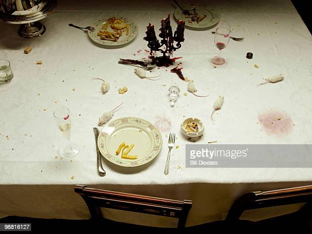White Mice on a Dining Room table