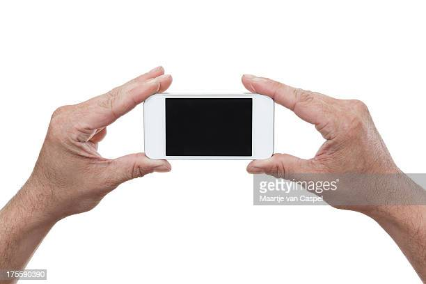 White Mobile Smart Phone In Hands