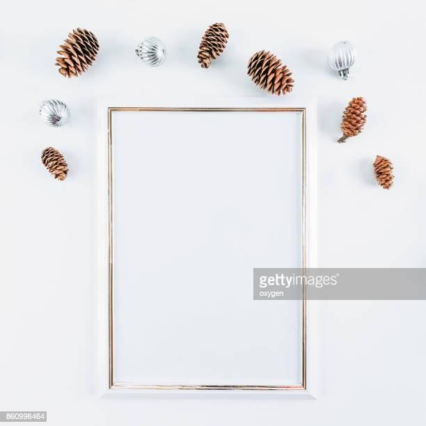 White mockup empty frame with Christmas decoration background