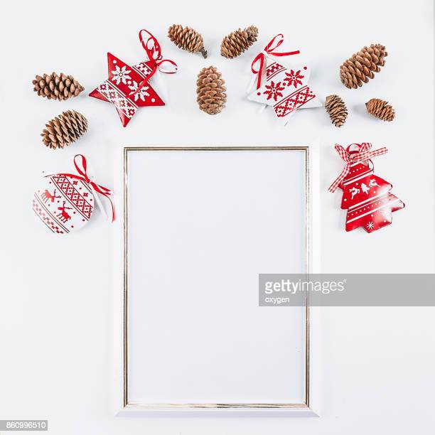 White mockup empty frame with Christmas decoration background