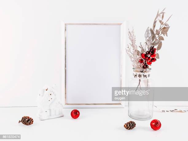White mockup empty frame with Christmas decoration white background