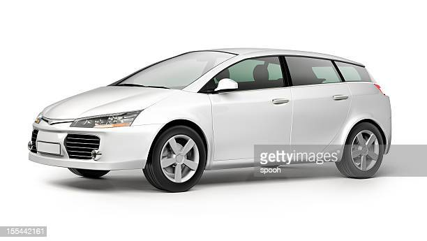 white modern compact car on white background - car stock pictures, royalty-free photos & images