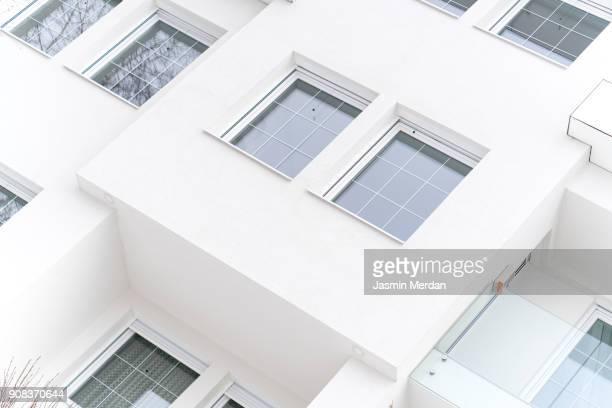 White modern cozy smart house closeup exterior
