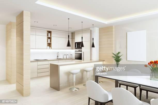 cozinha de interior moderna branca com painéis de madeira leves e com mesa de jantar e cadeiras - banco de sentar - fotografias e filmes do acervo
