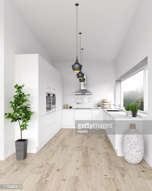 white modern kitchen - domestic kitchen stock pictures, royalty-free photos & images