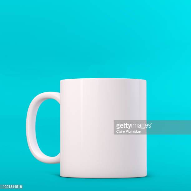 white mug mockup on a cyan background. perfect for businesses selling mugs, just overlay your quote or design on to the image. - ウェスト・バークシャー ストックフォトと画像