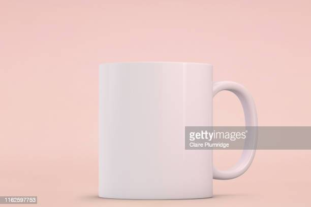 white mug mockup. perfect for businesses selling mugs, just overlay your quote or design on to the image. - mug stock pictures, royalty-free photos & images