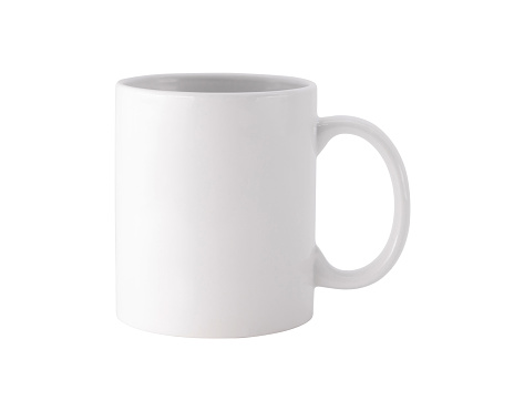 White mug on isolated background with clipping path. Blank drink cup for your design. 936782156