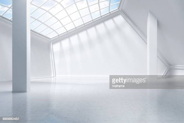 white museum digitally generated. - leer stock-fotos und bilder