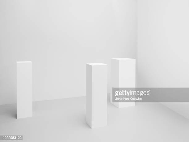 white museum plinths - white stock pictures, royalty-free photos & images