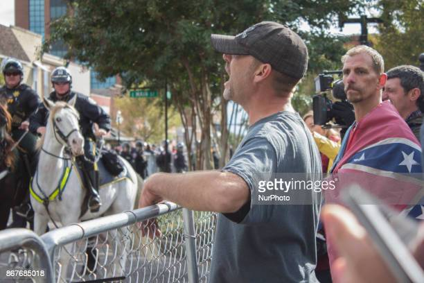 A white nationalist shouts at counter protesters during a White Lives Matter rally in Murfreesboro Tennessee United States on October 28 2017