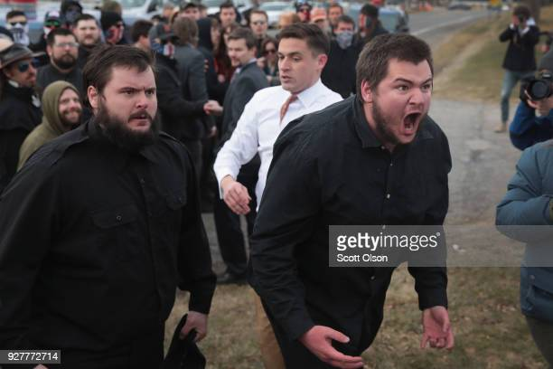 White nationalists clash with counterdemonstrators before the start of a speech by white nationalist Richard Spencer who popularized the term...