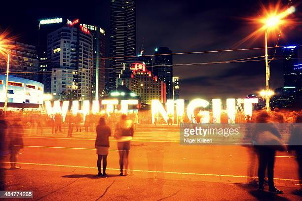 white night melbourne - white nights festival stock photos and pictures