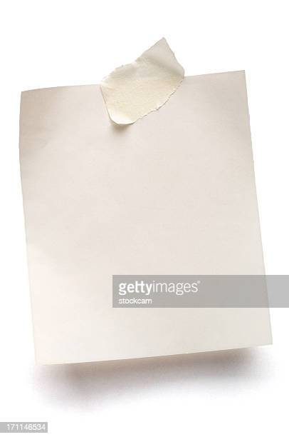 Weißen Hinweis Papier Isoliert