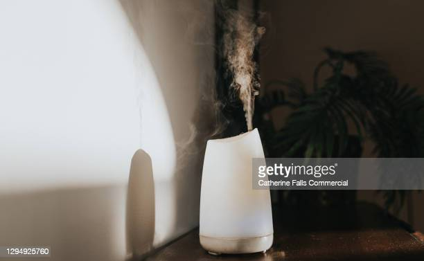 a white oil diffuser / humidifier in a domestic setting - humidifier stock pictures, royalty-free photos & images