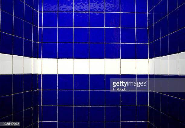 white on blue tile