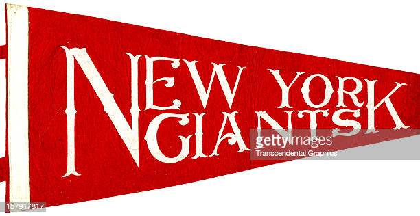 A white on red pennant promoting the New York Giants baseball team was made circa 1920 in New York City