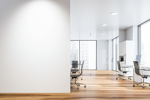 White open space office with mock up wall 1159680726
