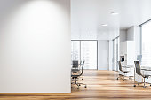 White open space office with mock up wall