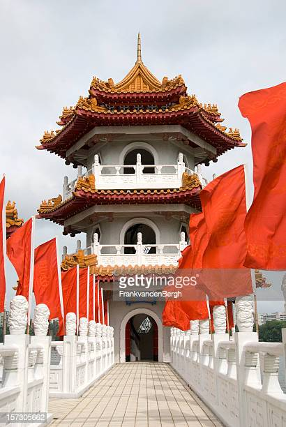 White pagoda with Red Flags