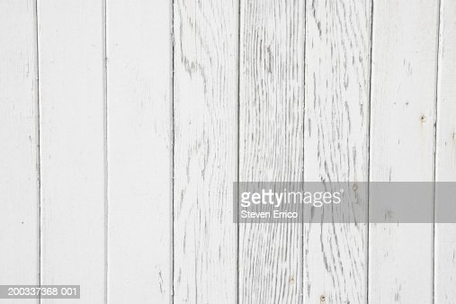 White Paint Pealing Off Wood Full Frame Stock Photo