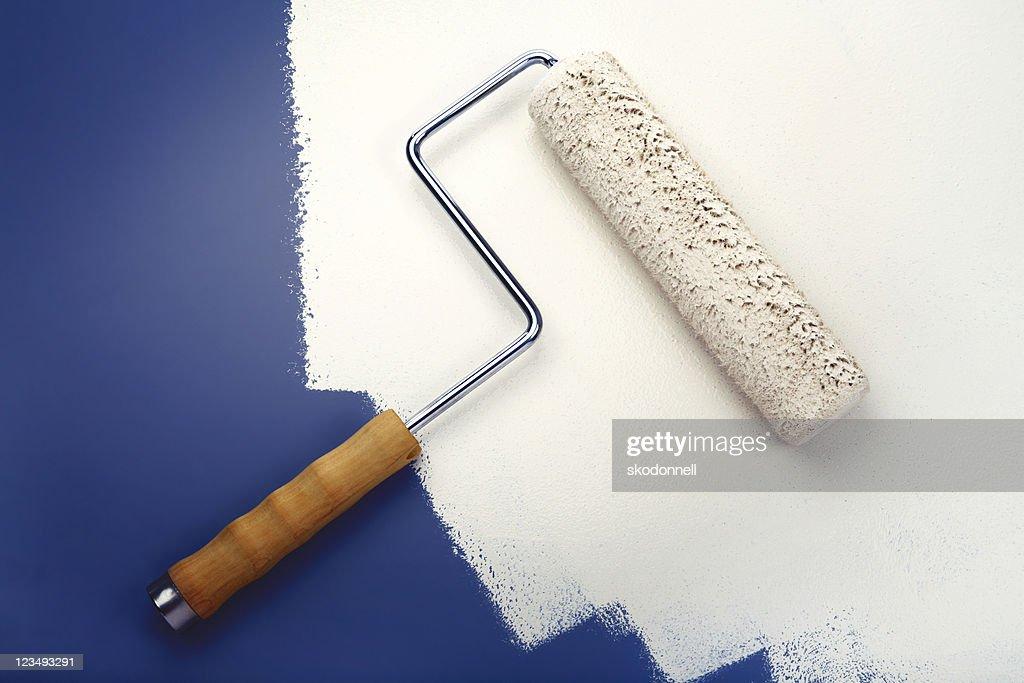 white paint roller : Stock Photo