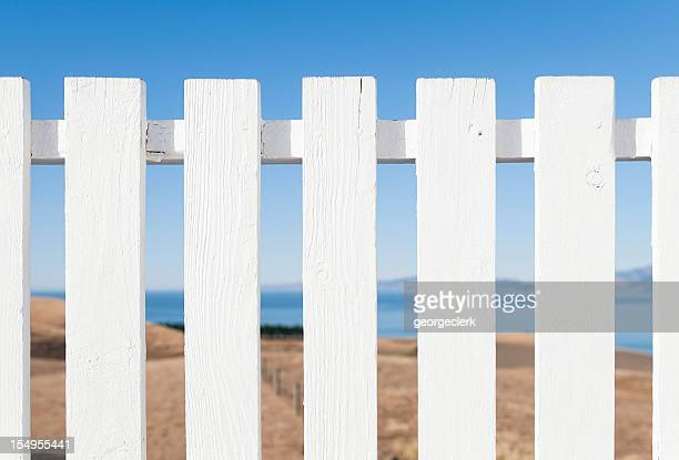 White Painted Traditional Wooden Fence