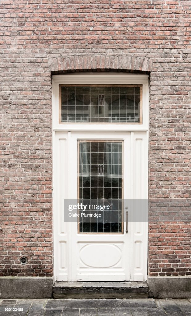 White Painted Wooden Door With Glass Panels Stock Photo Getty Images