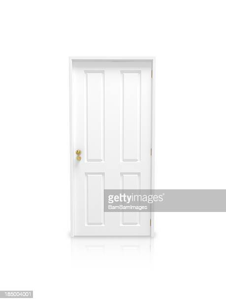 white panel door with gold knob on a white background - deur stockfoto's en -beelden