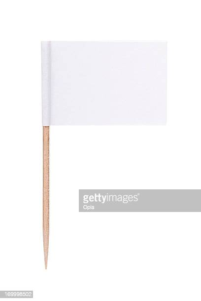 white paper flag with toothpick pole - flag stock pictures, royalty-free photos & images
