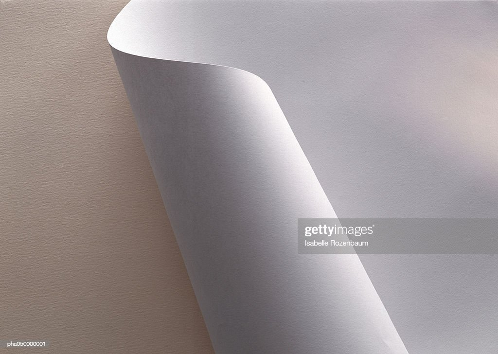 White paper, partially rolled up, close-up : Stockfoto