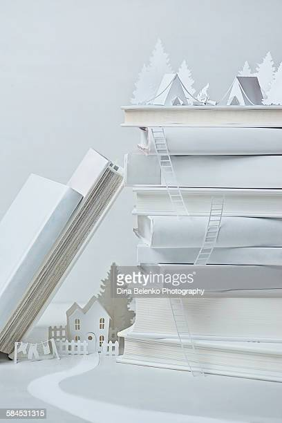 White paper still life with books