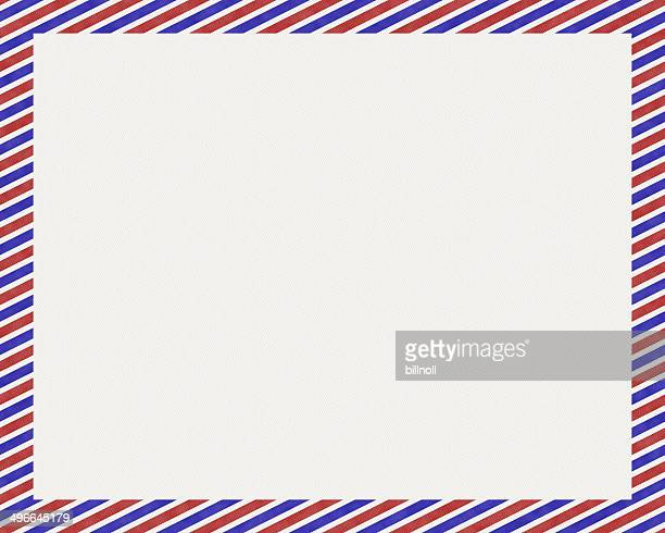 White paper with red and blue stripe border