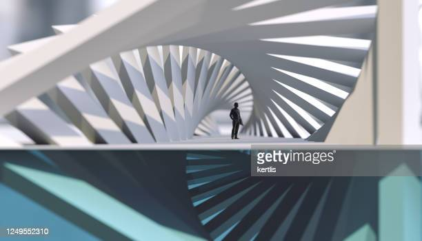white parametric abstraction - geometry - architecture - man - 3d rendering - installation art stock pictures, royalty-free photos & images