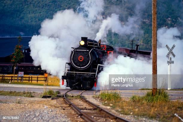 White Pass & Yukon Route 73 Steam Train and Locomotive leaving Skagway-Alaska for a scenic trip to Whitehorse-Yukon