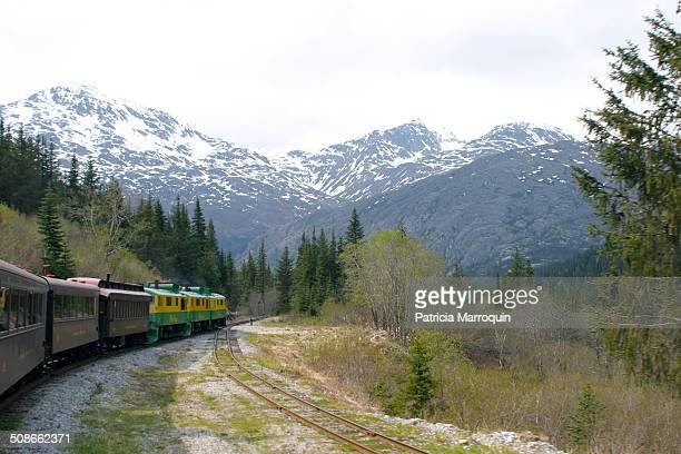 White Pass Yukon Route Railroad 'The Scenic Railway of the World' on trip from Skagway Alaska to the White Pass Summit It passes Bridal Veil Falls...