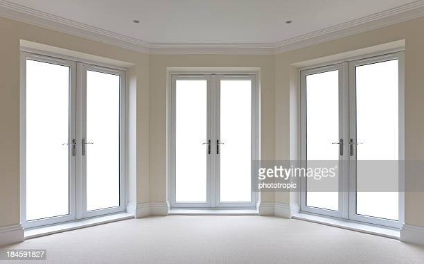 white patio door windows isolated - erker stockfoto's en -beelden