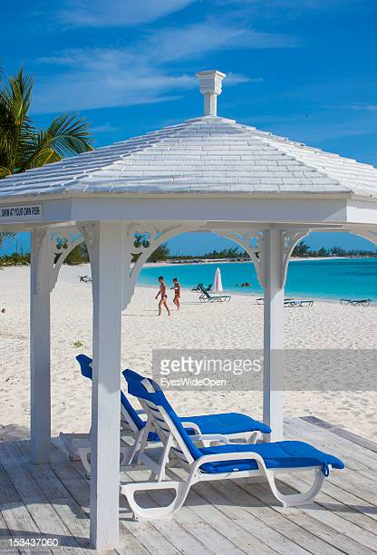White pavillon with sunbeds at the beach of luxury Resort and Hotel Cape Santa Maria which is having one of the Bahamas´ best beaches with white sand...