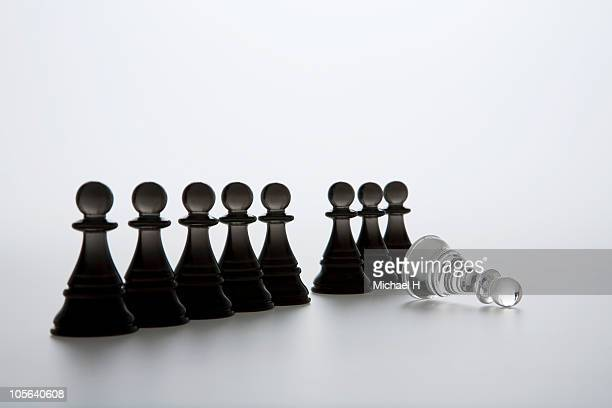 White pawn which lies before the row of black pawn