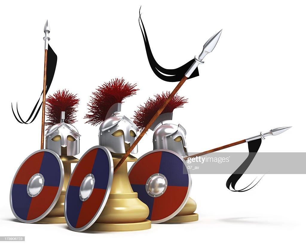white pawns warriors : Stock Photo
