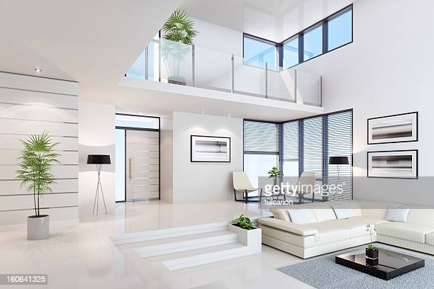 white penthouse interior - indoors stock pictures, royalty-free photos & images