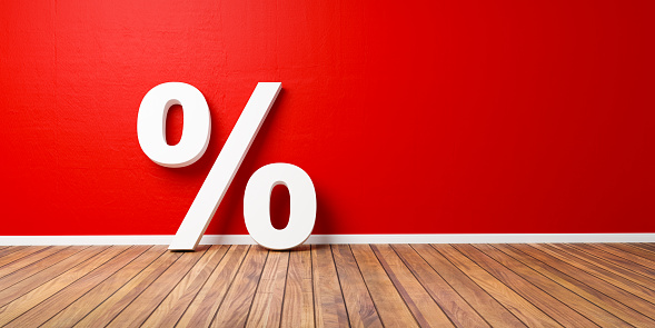 White Percent Sign on Brown Wooden Floor Against Red Wall - Sale Concept - 3D Illustration 1005846954