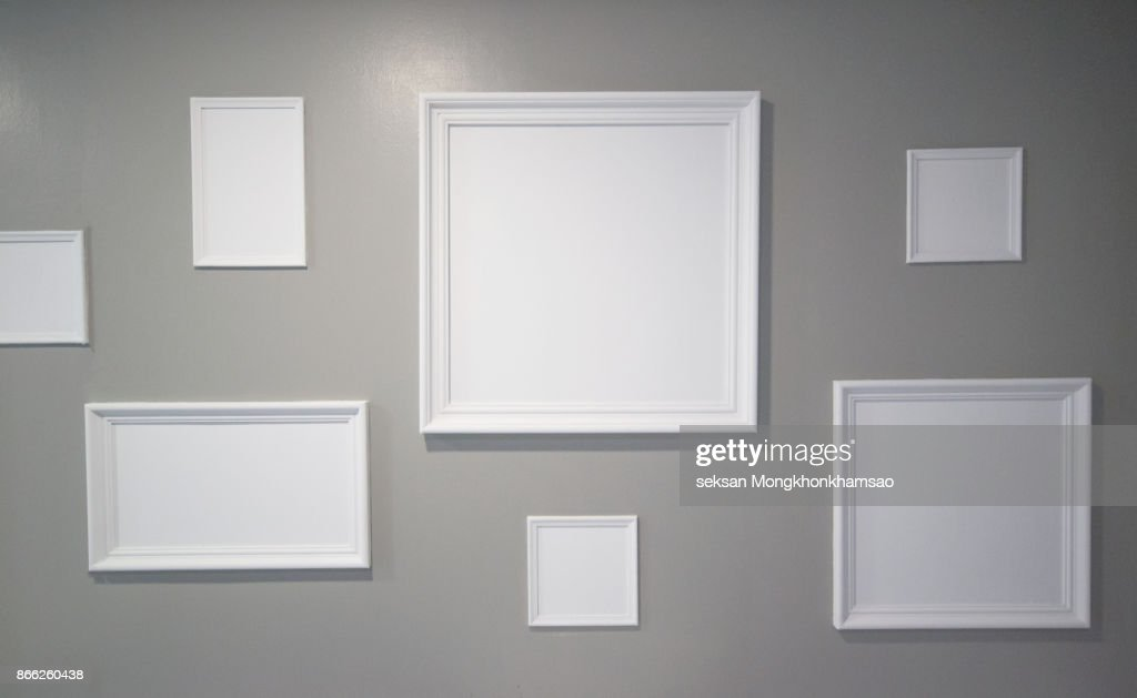 White photo frame on the wall : ストックフォト
