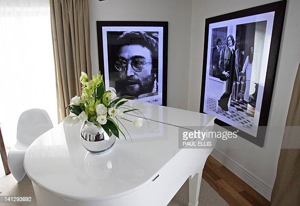 A white piano in the Lennon Suite is pictured in the Hard Days Night Hotel in Liverpool northwest England 01 February 2008 The newly opened hotel is...