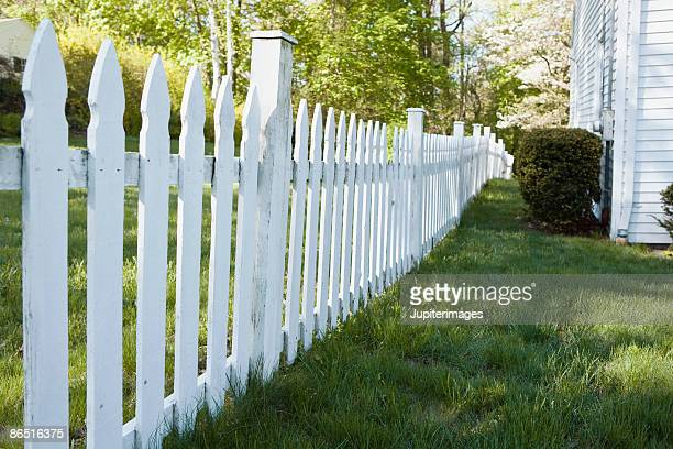 White picket fence by house