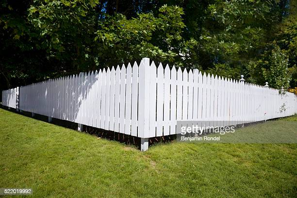 White Picket Fence on Lawn