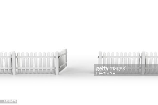 White picket fence with open gate