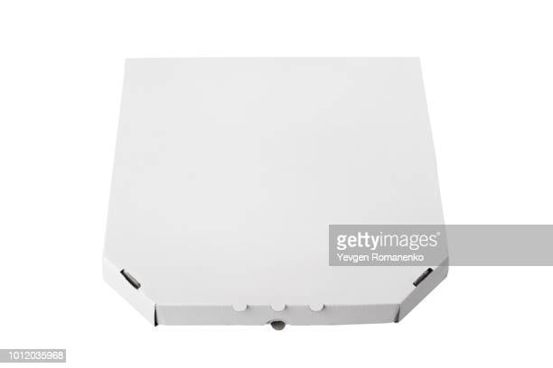white pizza box template on white background - pizza box stock photos and pictures