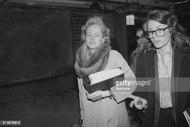 White Plains, NY: Jean Harris leaves Westchester County Courthouse 2/4 with one of her attorneys, Bonnie Steingart. In a letter, read at Mrs. Harris'...